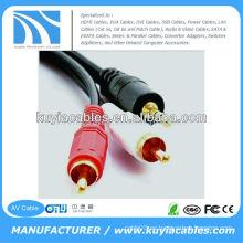 Macho a macho 3.5mm a 2rca estéreo Cable AV para computadora / VCD / DVD / HDTV / MP3