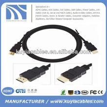 NUEVO cable negro del PREMIO del PREMIUM HDMI Cable M / M del varón Cable video del cable HDTV plateado oro 5FT 1.5m