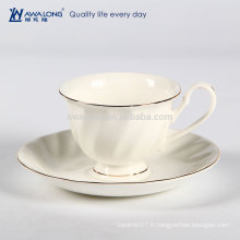 Pure White Logo personnalisé Fine Ceramic Bone China Coffee Cup et Saucer