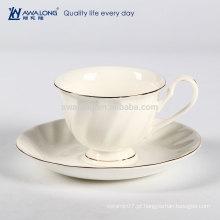 Logotipo Branco Puro Customized Fine Ceramic Bone China Copo De Café E Pires