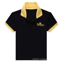 Черная мужская контрастная цветная рубашка поло