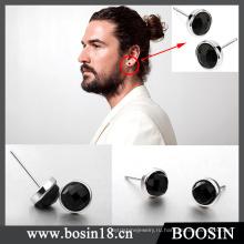 Мода высокое качество черный Кристалл серьги для мужчин