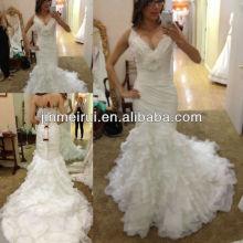 Frete grátis top encantador sereia branca v pescoço sem mangas longo organza vestido de noiva vestido de noiva JWD059