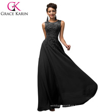 Grace Karin sin mangas V-Back gasa negro popular vestidos de baile CL007555-3
