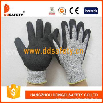 Luvas cortadas da segurança do nitrilo de Sandy da resistência do corte (DCR440)