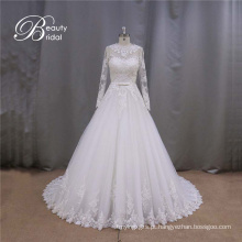 Novo estilo manga longa vestido de casamento vestido de noiva vestido de casamento