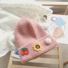Warm melon leather hat fabric embroidery fruit woolen