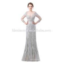 2018 новый дизайн на заказ черный цвет длина пола с длинным рукавом тяжелые из бисера вечернее платье для муслина