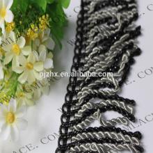 Negro y gris stock Fringe para vestidos y decoración del hogar