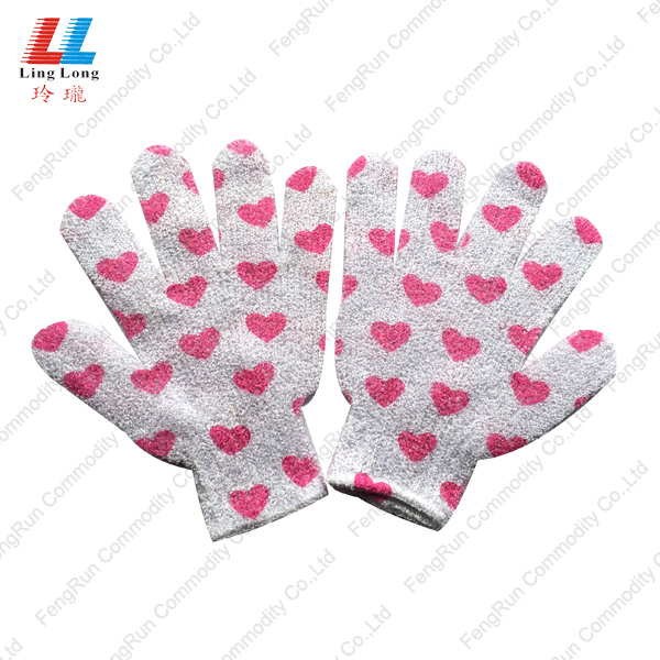 heart shape bath gloves