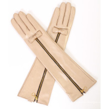 Lady Fashion Zipper Long Leather Dress Warm Gloves (YKY5175)