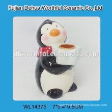 Cutely ceramic penguin candle holder