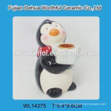 Кремовый керамический держатель свечей для пингвинов
