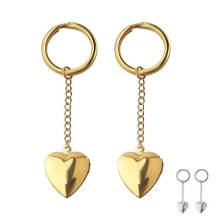 High polish gold plated Stainless Steel Heart Charm Keychain Gift