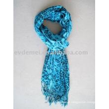 Viscose blue leopard print shawl