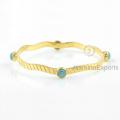 Amazing Green Amazonite Bangle, jóias de pedras preciosas de ouro 18k para mulheres