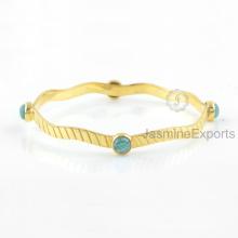 Brazalete Amazing Amazonite verde, joyería de 18k joyas de piedras preciosas de oro para las mujeres