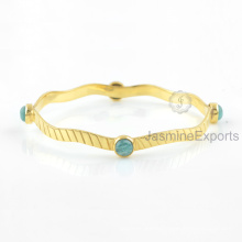 Amazing Green Amazonite Bangle, 18k Gold Gemstone Bangles Jewelry For Women
