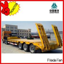 Three Axles Construction Equipment Transport Lowbed Truck Semi Trailer