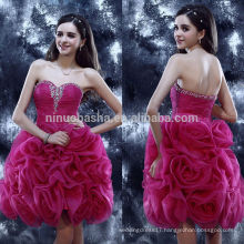 2014 Superb Fuchsia Ruffled Organza Short Homecoming Dress Sweetheart Pleated Bodice Ball Gown For Graduation Custom Made NB0838