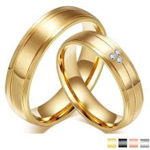 Anel de casamento de noivado de ouro cz cristal anel de casal de aço inoxidável