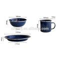High Quality enamel mug/plate/bowl sets with shiny blue color