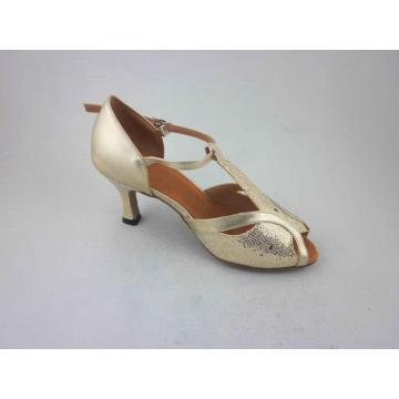 Zapatos latinos de PU de oro