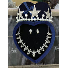 Acessórios de casamento nupcial Crown Earring Necklace