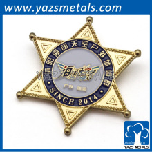 Star forma emblema de metal personalizado / lapela com seu próprio design