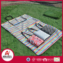 Handbag style 100% cotton waterproof outdoor picnic blanket