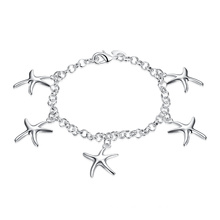 New Design Five Starfish Shape Pendant Bracelet Silver Plated Charm Bracelet Jewelry