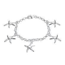 New Design Five Starfish Shape Pendant Bracelet Prata Charm Bracelet Jewelry