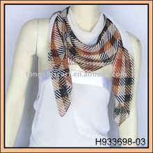 large gray check chiffon scarf