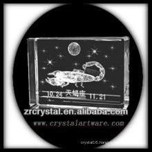 K9 3D Laser Engaved Scorpio Inside Crystal Block