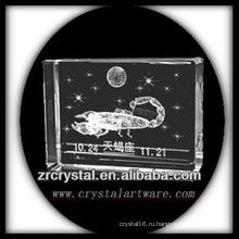 К9 3D лазерное Engaved Скорпион внутри кристалла блок