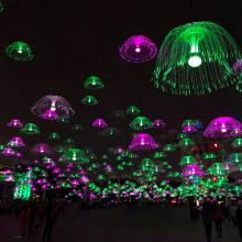 Luz de fibra óptica Jellyfinish para decoración navideña