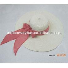 Ladies brim straw beach hat with tie