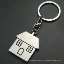 Porte-clés en forme de maison en métal personnalisé avec logo personnalisé (F1296)
