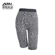 Calças de Yoga de mulheres sem costura preto leopardo personalizado
