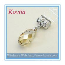 Мода ювелирные оптовой вырезать топаз кристалл кулон с серебряной фарфора стиль драгоценных камней ювелирные изделия ожерелье