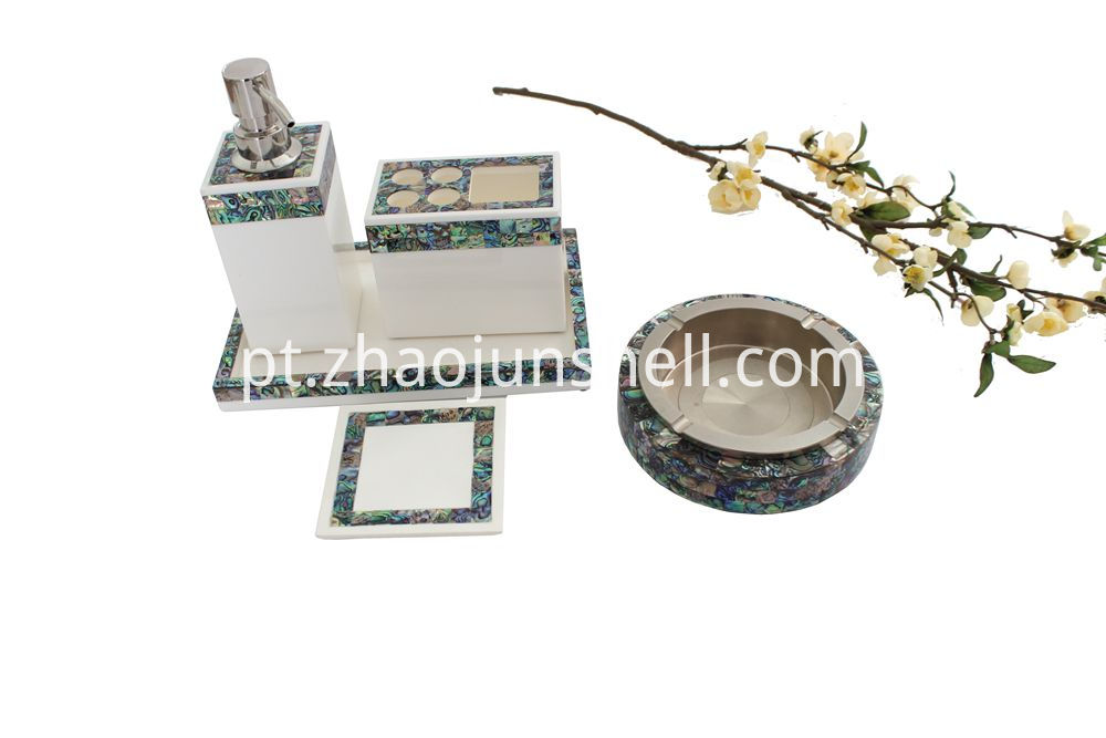 Hotel Bathroom Accessory Set with Paua Shell