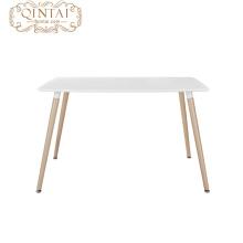 Table de salle à manger en MDF avec pieds en bois, rectangle moderne