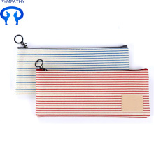 Large volume canvas pencil box with zero wallet for cosmetic bag