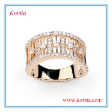 Anel de noivado de diamante de luxo anel de ouro largo para homens