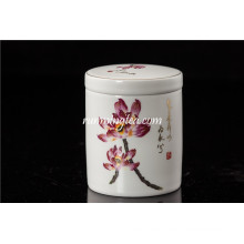 Handgemalte Lotus Keramiktee Caddy Gerade Form