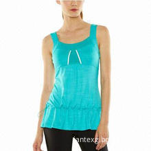 Blue Turquoise 96% Polyester and 4% Lycra Sleeveless Women's Sports Tops with Adjustable Waist
