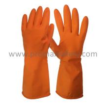DIP Flocked Orange Household Látex Guante