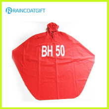 Adult Red Polyester PVC Hooded Rain Poncho Rpy-062