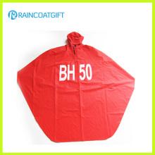 Poncho de lluvia con capucha PVC adulto rojo del poliéster Rpy-062