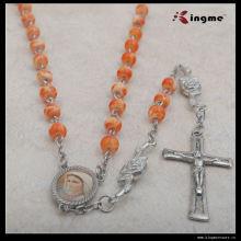 Cheap Glass Beads Orange Catholic Rosary Necklace